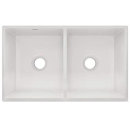 White Double Bowl Farmhouse Sink.Elkay Swuf32189wh Fireclay Equal Double Bowl Farmhouse Sink White