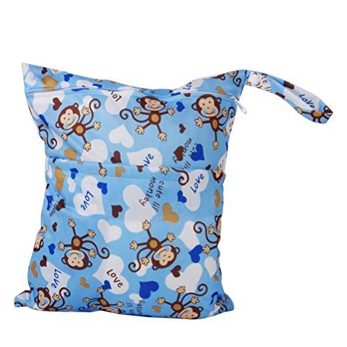 OULII Cute Monkey Pattern Washable Reusable Waterproof Zippered Baby Cloth Diaper Nappy Bag Wet Dry Bag Tote with Soft Snap Handle