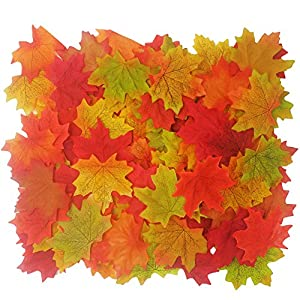 LEFVTM Artificial Fall Maple Leaves in Autumn Colors - Great Table Scatters for Fall Weddings Autumn Parties Baby Shower Favor Decor, Pack of 100 70
