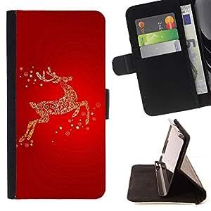 For Samsung Galaxy Note 5 5th N9200 Case , Red Gold Glitter Invierno Carismas- la tarjeta de Crédito Slots PU Funda de cuero Monedero caso cubierta de piel