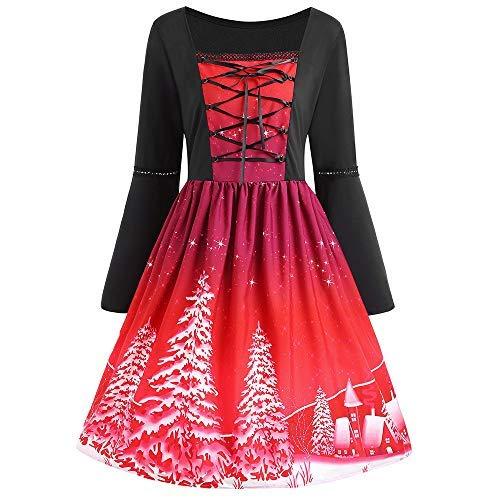 Womens Christmas Plus Size Swing Dress, Ladies Long Sleeve Printed Flare Cross Bandage Vintage Swing Mini Dress, O Neck High Waist Party Lace Dress