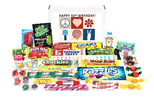 Woodstock Candy 40th Birthday Gift Box - Peace Love and Happiness - Retro Nostalgic Candy Memories from Childhood