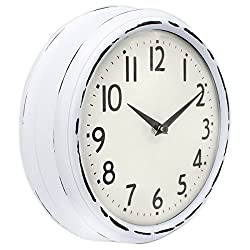 45Min [Updated Version] 9.5-Inch Spherical Glass Round Classic Clock, Silent Non-Ticking Retro Quartz Decorative Wall Clock White/Black(White)