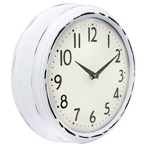 (45Min 9.5 Inch Spherical Glass Round Classic Clock, Silent Non Ticking Retro Quartz Decorative Wall Clock White/Black/Red(White))