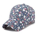 Samll Floral Baseball Cap for Women Summer Beach Sun Hat Blue 56-60Cm