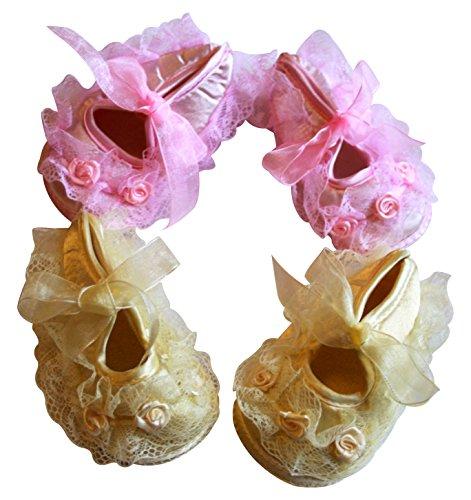 Rosas y encaje con volantes Baby Girl Toddler Pre Walker cuna cochecito Set de regalo de 2rosa y marfil, amarillo y rosa, zapatos Yellow & Pink
