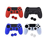 ASIV Silicone Protective Skin Cover Non-slip for PS4 Controller x 4 (Black + Red + Blue + White) + Thumb Grips Attachments x 8