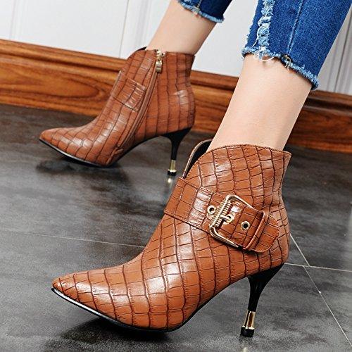 KHSKX-Korean Fashion Martin Botas Tacones De Aguja Sexy Serpiente Talones Cinturon Botones Cilindro Corto Botas Zapatos De InviernoTreinta Y SieteKhaki