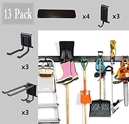 48 Inch 13PC Garage Organizer,Garage Hooks And Hangers Steel Tool Storage,Metal Utility Double Hooks,Heavy Duty for Organizing Power Tools,Laddy,Bulk Items,Wall Mount Tool Holder