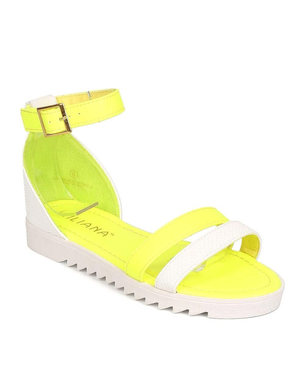 84c0fcc00b48d Women Snakeskin Open Toe Two Tone Minimal Gladiator Sandal ED94 - Neon  Yellow