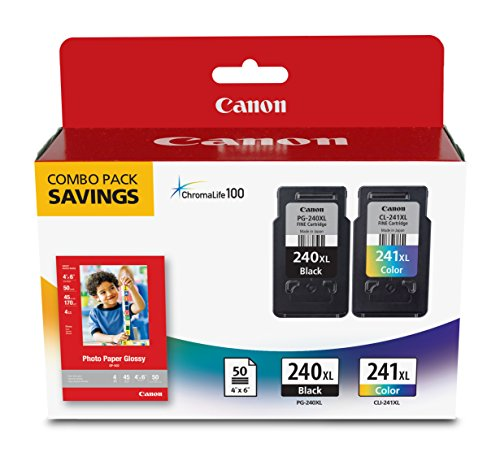 Canon PG-240XL/CL-241XL with Photo Paper 50 Sheets Compatible to MG2120, MG3120, MG4120, MX512, MX432, MX372, MX522, MX452, MX392, MG2220, MG3220, MG4220, MG3520, MG3620, -