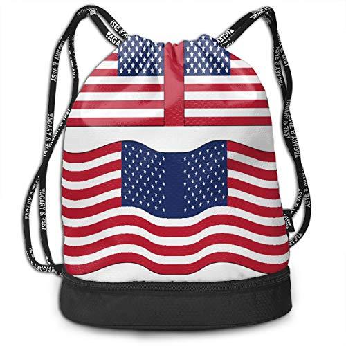 Drawstring Bag American Flag Printables Womens Gym Backpack Custom Personalized Mens Travel Small Bags For Boys ()