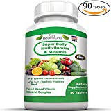 FOOD BASED Super Daily Multivitamin Supplement Tablets Best For Adult Men Women Seniors With 42 Natural Fruits Vegetables Blend, 21 Essential Vitamins Minerals. Boost Your Immune System And Energy!