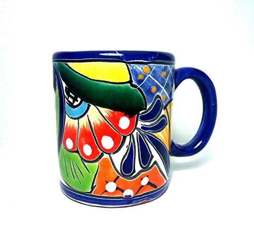 4' Blue Rimmed Traditional Mexican Talavera Pottery Coffee Mug for Daily Use and Home Decor