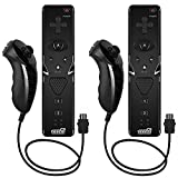 EEEKit 2-pack Remote and Nunchuk Controller Combo Set with Strap for Nintendo Wii/Wii U/Wii mini (Black)