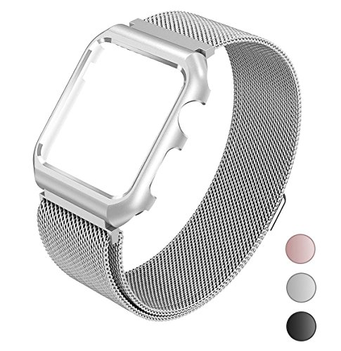 For Apple Watch Band Milanese Loop 42mm Replacement Band for Men for Women with Metal Protective Case for Apple Watch Series 3 Series 2 Series 1 - Silver