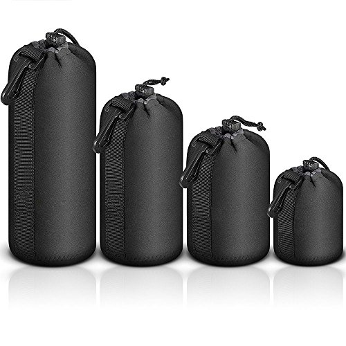 Selens 4 pcs Black Protective DSLR camera Drawstring Soft Neoprene Lens Pouch Bag for Sony Canon Nikon Pentax Olympus Panasonic by Meking
