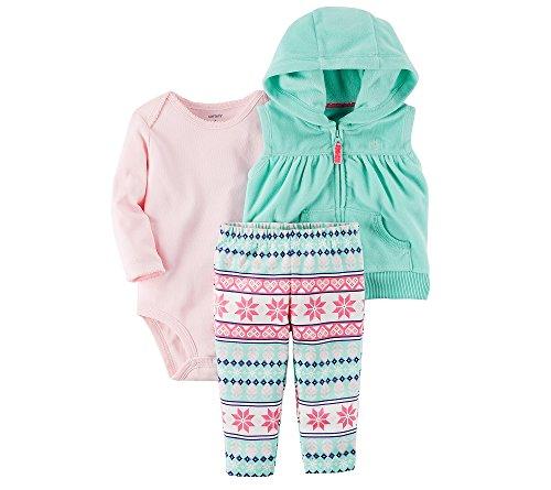 Carter's Baby Girls' 3 Piece Snowflake Vest Little Jacket Set 6 - Clothing Designer Warehouse