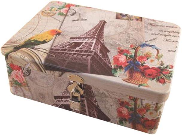 Chinashow - Organizador Decorativo de Metal para Joyas, Caja de Almacenamiento de hojalata con candado, para Guardar Joyas, Recuerdos, Juguetes, Dulces o pasaportes, Torre Eiffel: Amazon.es: Hogar
