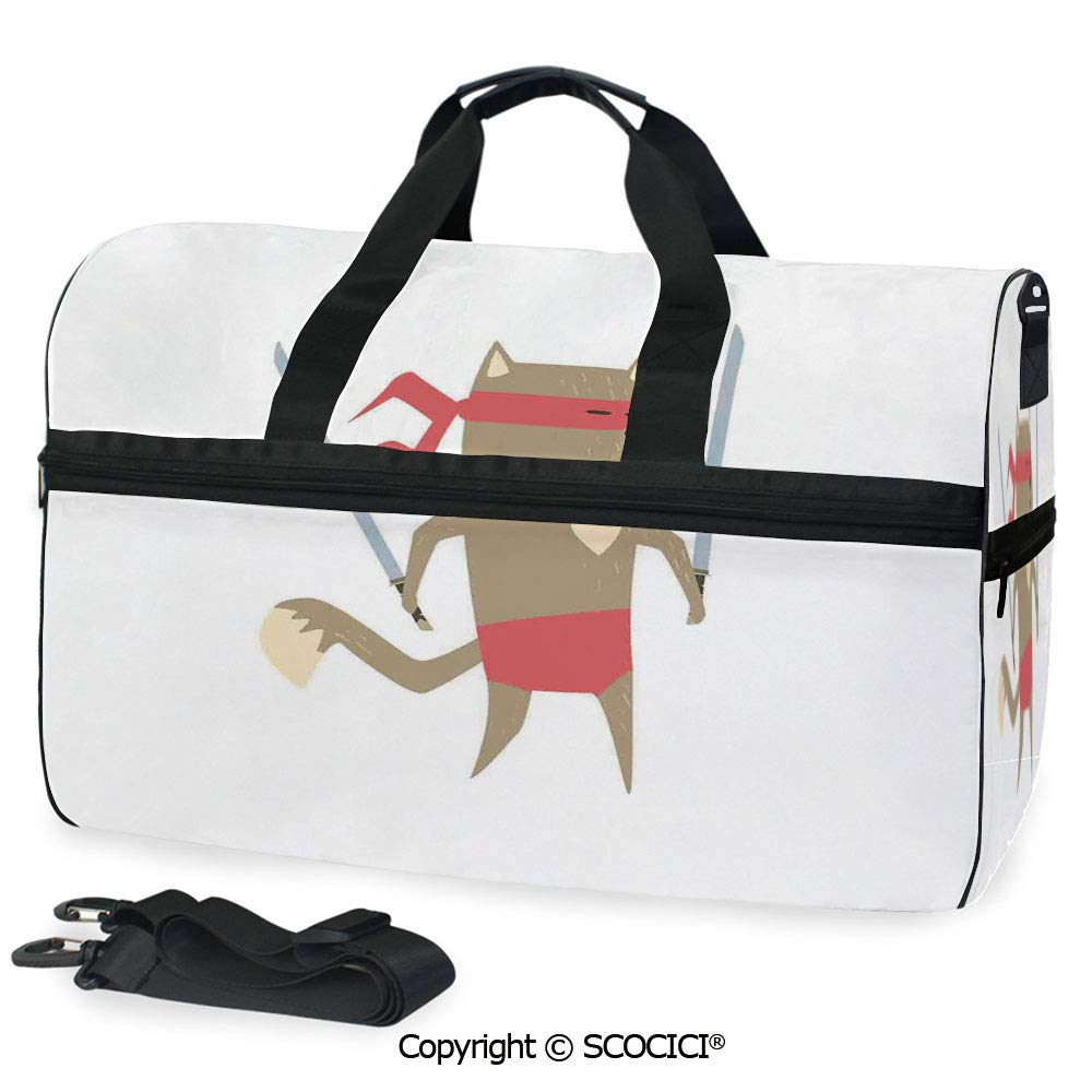 Amazon.com | Travel Duffel Bag Crime Fighter Ninja Cat with ...