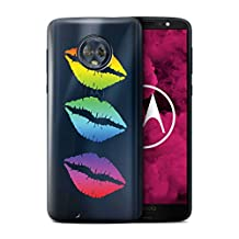 STUFF4 Phone Case/Cover for Motorola Moto G6 2018/3 Colour Rainbow Lips Design/Lipstick Collection