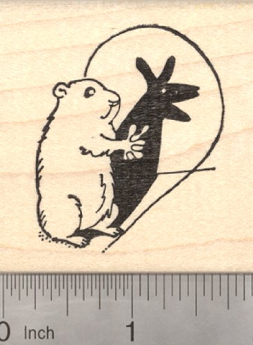 Groundhog Day Rubber Stamp, Making Shadow Puppets, Woodchuck, -