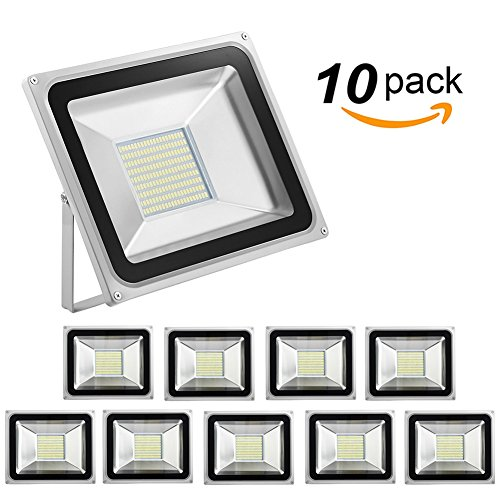 Missbee 10 Pack 100W Led Flood Light,Outdoor Spotlight,Waterproof IP65,6000-6500K,11000lm, Super Bright Security Lights for Garage, Garden, Lawn,Yard and Playground (Cold White) by Missbee