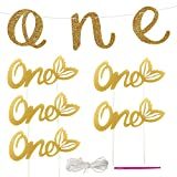 Gold Glitter 1st Birthday Banner Decoration with 5 Sets Cupcake Topper for Birthday, Anniversary or Shower Party Supplies