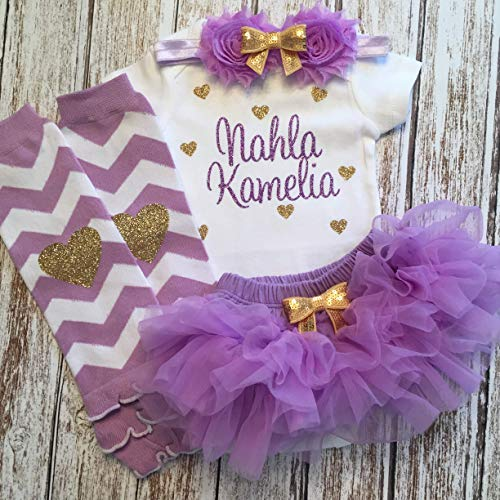 Take Home Outfit Baby Girl Outfit Personalized Name Hearts Purple and Gold Optional Tutu Bloomers Headband and Leg Warmers