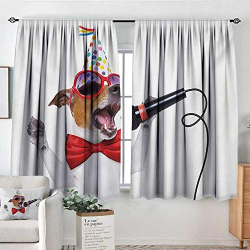 Mozenou Popstar Party Custom Curtains Jack Russel Dog with Sunglasses Party Hat and Bowtie Singing Birthday Song Customized Curtains 72