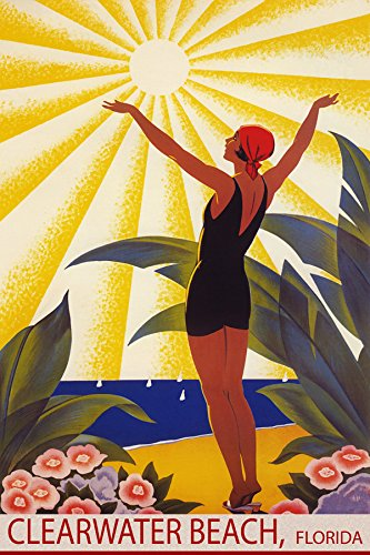 Sunshine Clearwater Florida Beach Girl Welcoming The Sun Sailing Travel 12  X 16  Vintage Poster Repro Matte Paper We Have Other Sizes