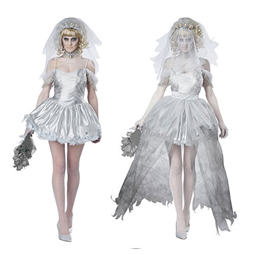 Tiebixiaojun Halloween Witch Bat Ghost Bride Costumes for Women , Girls (XXL, White)