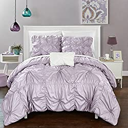 Chic Home DS2245-AN 4 Piece Hamilton Floral Pinch Pleat Ruffled Designer Embellished Duvet Cover Set, Queen, Lavender