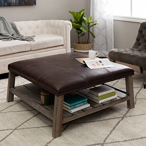 Tobacco Finish Wood - Antonio Vintage Tobacco Leather Grey Finish Wood Coffee Table Ottoman