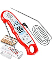 Meat Thermometer for Cooking, Saferell 2-in-1 Digital Instant Read Food Thermometer with Foldable Probe & Oven Safe Wired Probe, Backlight, Alarm Set, and Magnet for BBQ, Grill, and Roast Turkey