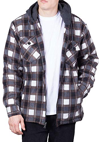 Walnut Creek Mens Flannel Hoodie Jackets for Men Zip Up Fleece Sherpa Lined Shirt 3XL-T Brown