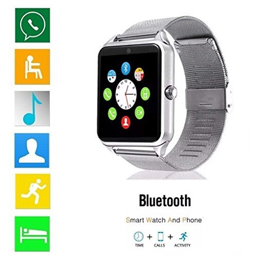 Bluetooth Smart Watch DOROIM Stainless Steel Strap, Camera, Call SMS Reminder, Sleep Monitor, Pedometer, Support SIM TF Card Android iPhone Men Women Boys Girls Gift