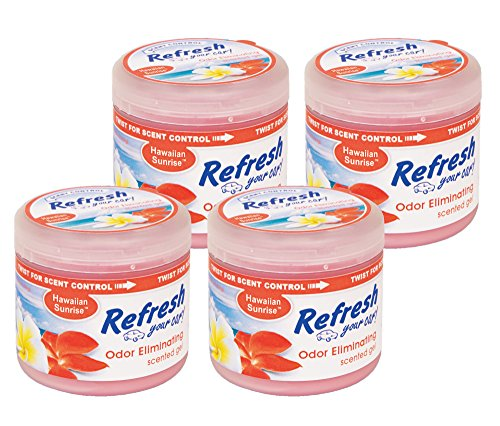 Refresh Your Car! 84964 Scented Gel Can, 4.5 oz Hawaiian Sunrise, 4-Pack ()