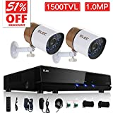 ELEC 4CH Channel HDMI DVR Security System CCTV + 2 Weatherproof 1500TVL Security Camera, Home Surveillance Video Kits, No Hard Drive