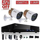 ELEC 4CH Channel HDMI DVR Security System CCTV + 2 Weatherproof 1500TVL Security Camera, Home Surveillance Video Kits, No Hard Drive