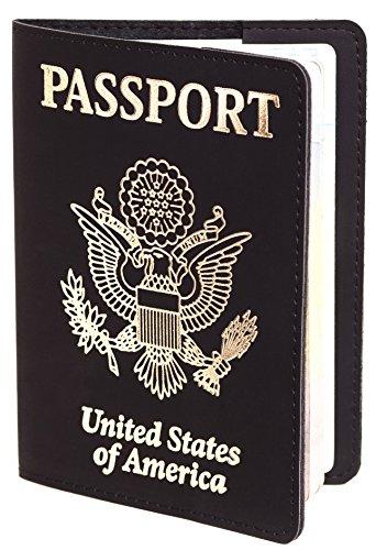 - US Passport Cover - Passport Holder - Passport Case For Men Women (Black with Gold)