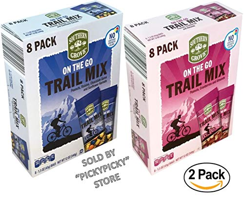 - On The Go Trail Mix 2 Packs With 16 Individually Packed Bags of Nuts Seeds and Chocolate Gems