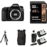 Canon EOS 80D Digital SLR Camera Body with 32GB Memory Card, Extra Battery, Bag and Manfrotto Tripod
