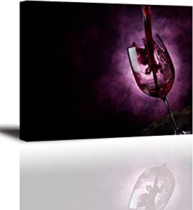 Wine Pictures for Kitchen, PIY Glass Wine Cup Wall Art for Dining Room, Canvas Prints Home Decor (Waterproof Artwork, Bracket Mounted Ready to Hang)