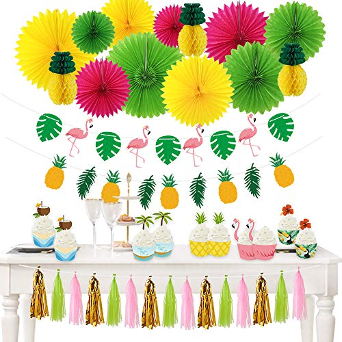 Haojiake 50pcs Hawaiian Party Decoration Kit Paper Fans Summer Tropical Party Flamingos and Pineapples Banners Luau Cupcake Toppers and Wrappers Beach Supplies