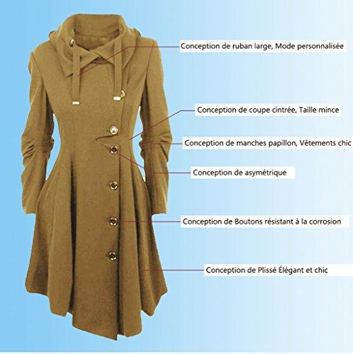 Femme Front Mi coat Veste Épaise Manches Laine Chaud Gabardine Clair w0BqUxAfSq