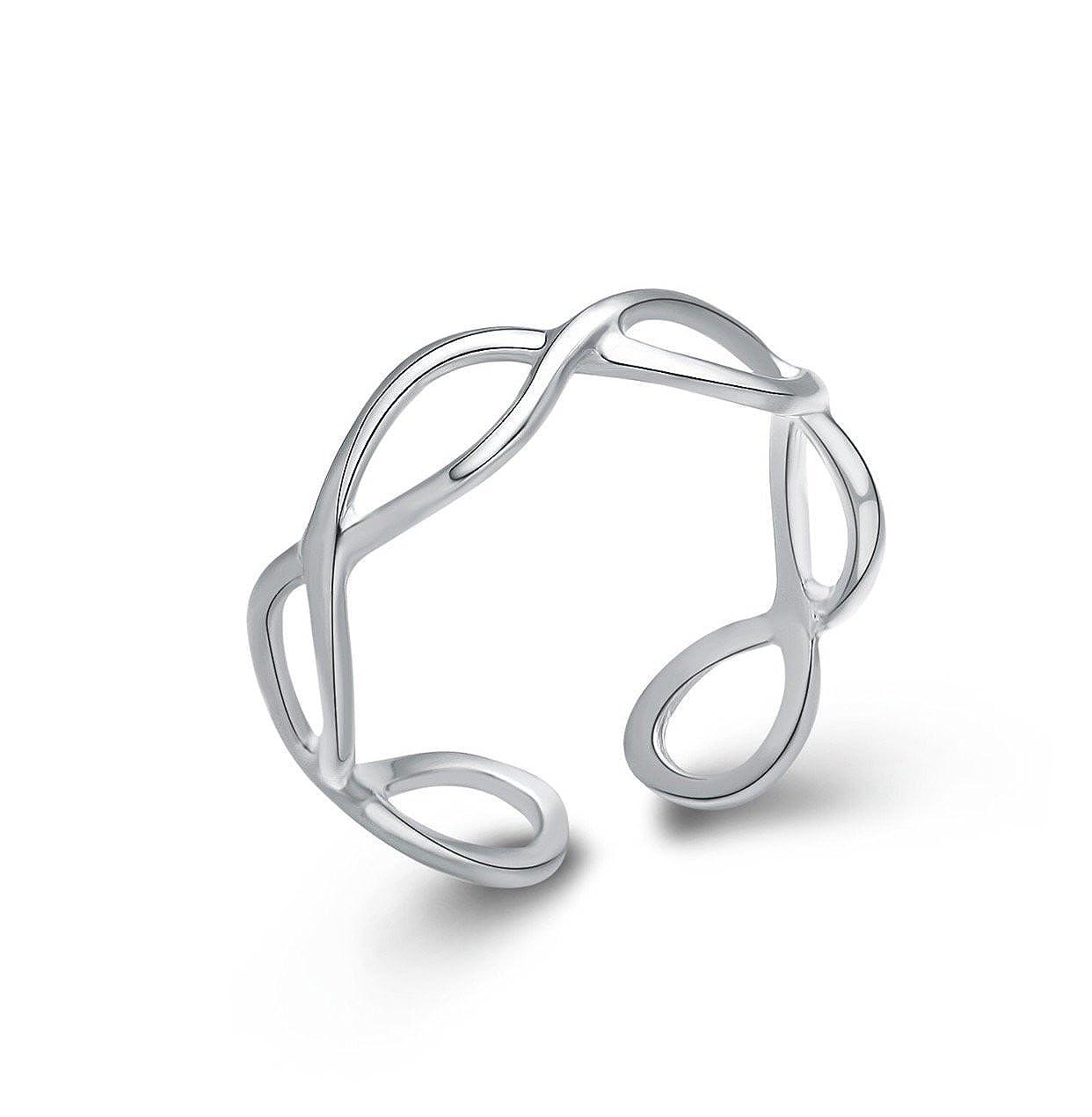 Iszie gioielli in argento Sterling anello del pollice, MIDI anello regolabile infinity Open Twist Hollow Cross design anello moda da donna MIDI anello regolabile infinity Open Twist Hollow Cross design anello moda da donna e Argento colore: Silver ISZ-221