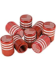 American Flag Tire Valve Stem Caps, 8 Pcs Anti-Theft Premium Metal Rubber Seal Tire Valve Caps, Universal Fit for Cars, SUVs, Bike and Bicycle, Trucks, Motorcycles
