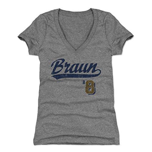 500 LEVEL Ryan Braun Women's V-Neck Shirt XX-Large Tri Gray - Milwaukee Baseball Women's Apparel - Ryan Braun Script B