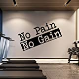 Extra Large Gym Wall Decal | No Pain No Gain Inspirational Wall Sticker Quote | 2 ft x 4 ft HUGE Wall Art Decoration | Big Vinyl Lettering Motivation for the Home Gym | Workout Exercise Sign